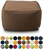 エムール 日本製 マイクロビーズクッション 『mochimochi』 キューブ XLサイズ クッション本体+専用カバー(ブラウン)