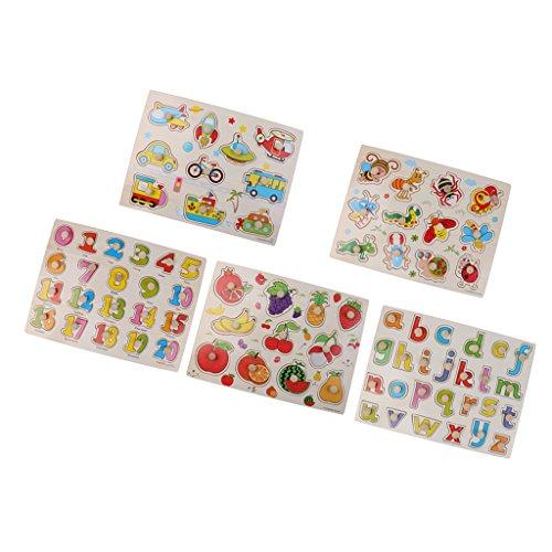 SONONIA 5セット 木製 ペグジグソー パズル ベビー 幼児 就学前 子供用 教育玩具