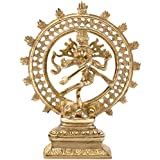 Lord Shiva Statue/Brass Nataraja Idol - Metallic Golden-Look 8.3 inches Tall Sculpture with 2.28 Pound Weight - Ethnic Home Decor/Religious Gifts for Men and Women