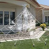 16 Feet Giant Spider Web with Super Stretch Cobweb Set and 2 Small Spider for Halloween Decorations Outdoor Yard (16 ft)