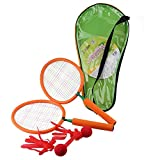 【tshop】 バドミントン ラケットセット スポンジハンドル 子供用 おもちゃ スポーツトイ 贈り物 【スポンジで安全安心】 オレンジ