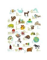 French Alphabet Natureテーマ壁アート印刷、、保育園インテリア、ウッドランド保育園、フォレスト動物、子どもの部屋、ABC動物ポスター、ベビー部屋 05x07 prialpfre0507.m