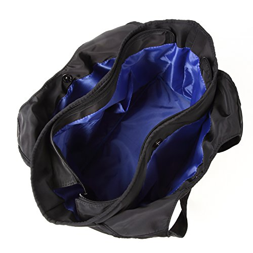 超軽量 2WAY 防水 大容量 ショルダーバッグ トートバッグ 斜め掛け 通勤 通学 ママバッグ (ブルー(黒青))