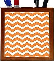 Rikki Knight Chunky Chevron Orange Zig Zag Design 5-Inch Tile Wooden Tile Pen Holder (RK-PH44680) [並行輸入品]