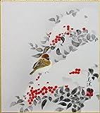 田中美法 『雪中南天』 色紙