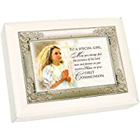 First Communion Special Girl Veil Glossy Ivory Silver Inlay Jewellery Music Box Plays song Ave Maria