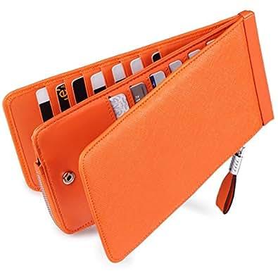 Huztencor 長財布 薄型 二つ折り メンズ レディース 磁気防止 カードケース カード26枚 収納 大容量 財布 本革 革 人気 小銭入れ 男女兼用RFID識別 オレンジ