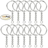 Jmkcoz 100pcs 1/25mm Metal Split Key Ring with Chain Silver Key Ring Keychain Ring Parts Open Jump Ring and Connector Accessories for DIY 【Creative Arts】 [並行輸入品]
