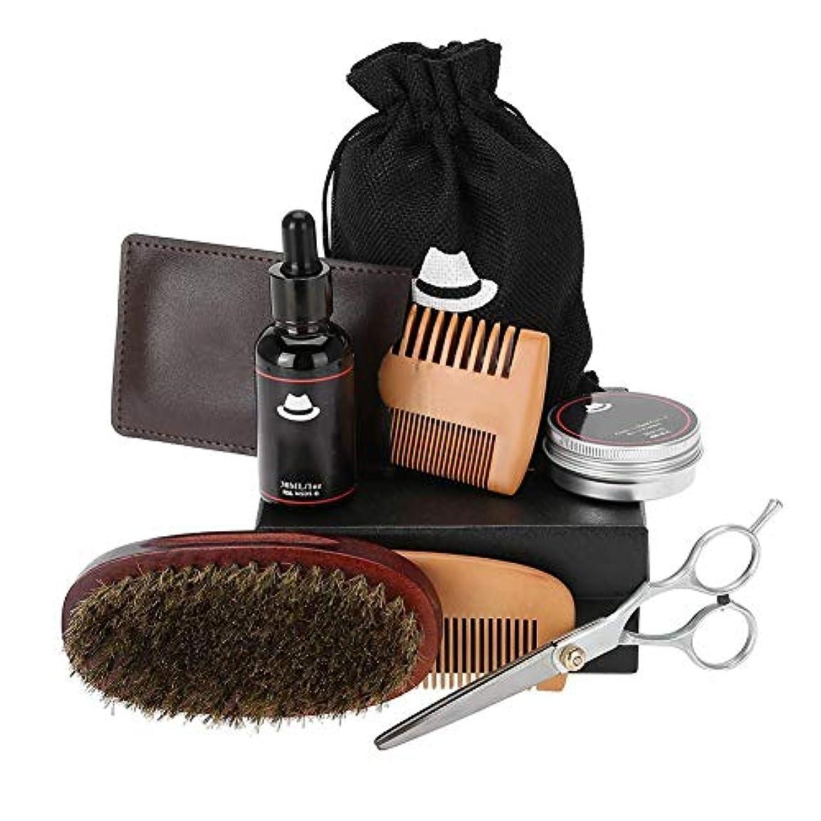 1つのひげのグルーミングセットに付き6、ひげオイルが付いている人のためのひげの心配のキット、木の櫛、イノシシの剛毛のブラシ、香油、口ひげのスタイリングを助け、柔らかく滑らかに保ちなさい