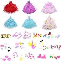 Dovewill  バービー人形用  6個セット 手作り ファッション  ドール  ストラップレス ドレス   26cm  約80個  人形 お飾り物