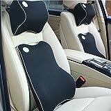 HAOCOO Ventilativeメモリーフォーム車ランバーサポートクッションパッド&車ヘッド首枕キット、背中の痛み、Keep脊椎Aligned