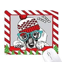 犬の服の美しい水彩画のイラスト ゴムクリスマスキャンディマウスパッド