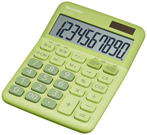 シャープ カラー電卓 ミニナイスサイズ グリーン系 EL-M334-GX