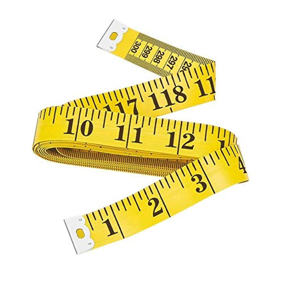 逃れる絶滅近々Sherry29 テープメジャー ソフト巻尺 ガラス繊維 300cm/120inch 両面印刷 テーラー縫製 物差し サイズ測定用 3m 1本 イエロー