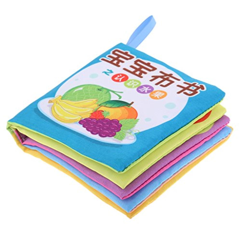 monkeyjack Children Baby Cognizeサウンドブックインテリジェンス開発柔らかい布10ページToys初期学習図形言語Fruits