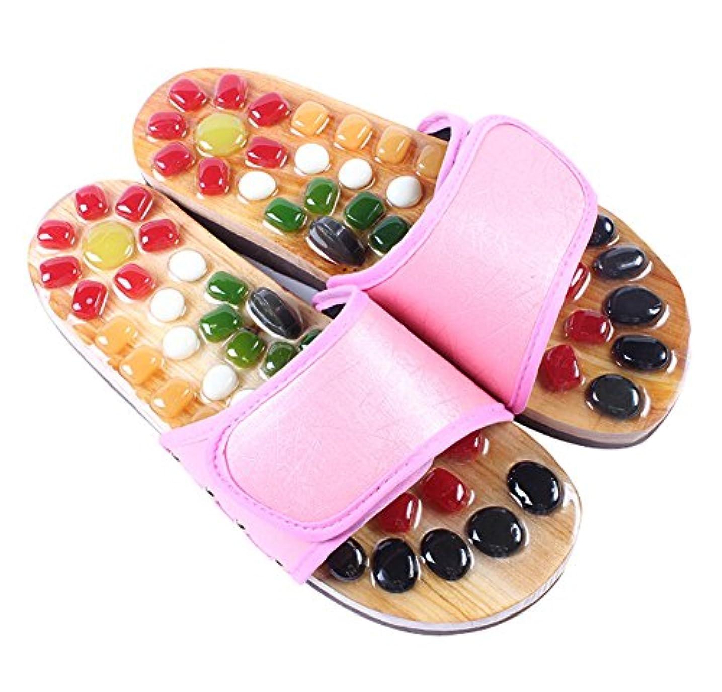 カブ返済路面電車女性のマッサージ家庭用スリッパコットストーンフットスリッパUS7.5、ピンク