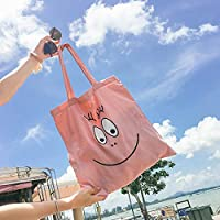 Has Many Uses Multipurpose Smiley Face Large Capacity Light School Books Bag Canvas Shoulder Bag (Pink)