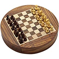 Wooden Round Chess Board and Magnetic Pieces Set with Storage Diameter 9 Inches [並行輸入品]