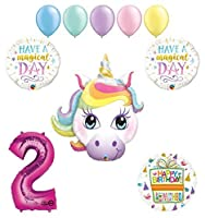 Magical Unicorn 2nd Birthday Party Supplies and Balloon Decorations [並行輸入品]