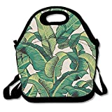 IACC お弁当 Lunch Tote Bag Tropical Banana Leaves Insulated Lunch Box Food Bag Pouch Tote Bag For Adults, Kids School Work Picnic Reusable Container Neoprene