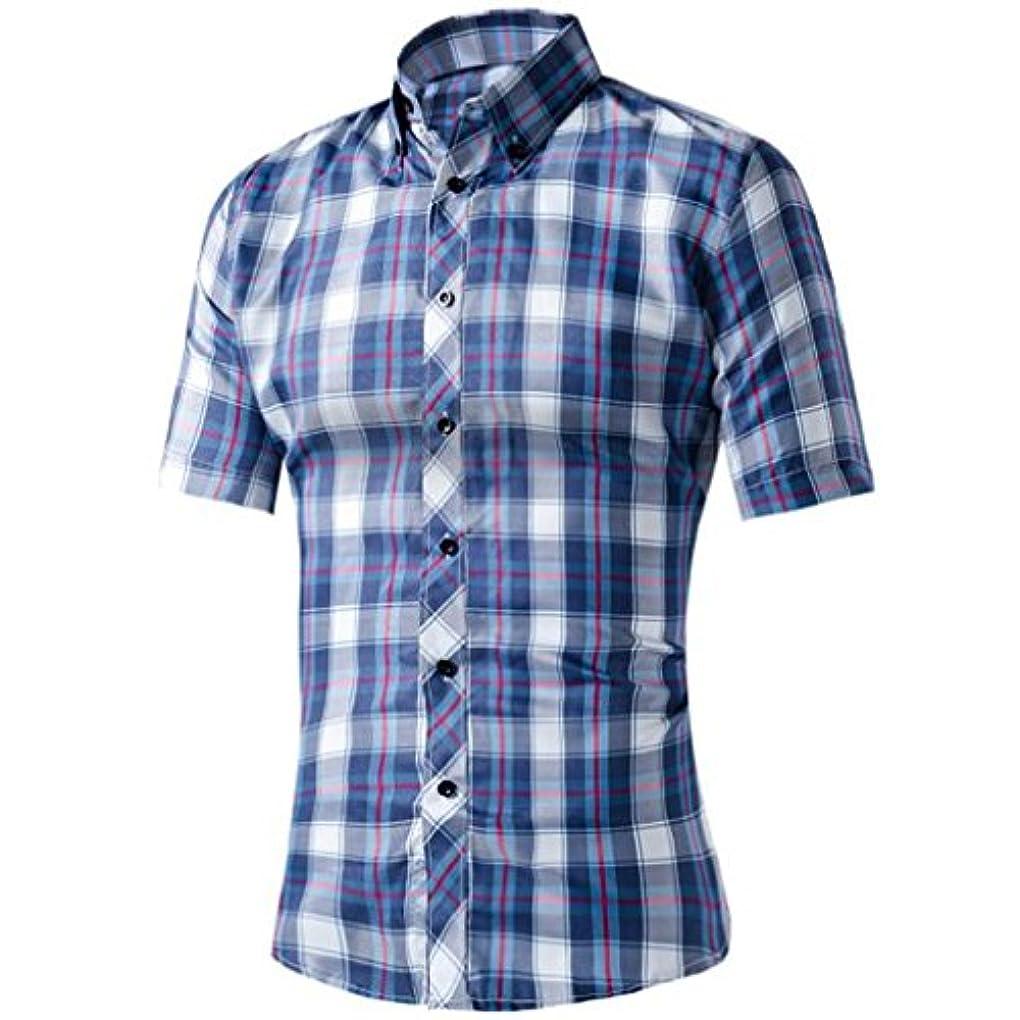少し悪性敵意Honghu シャツ メンズ 半袖 チェック柄 夏 爽やか コットン ボタンダウン カジュアル 14色  ブルー+ホワイト XL