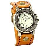 JewelryWe アンティーク風 腕時計 レザーブレスレットタイプ ウォッチ アクセサリー イェロー