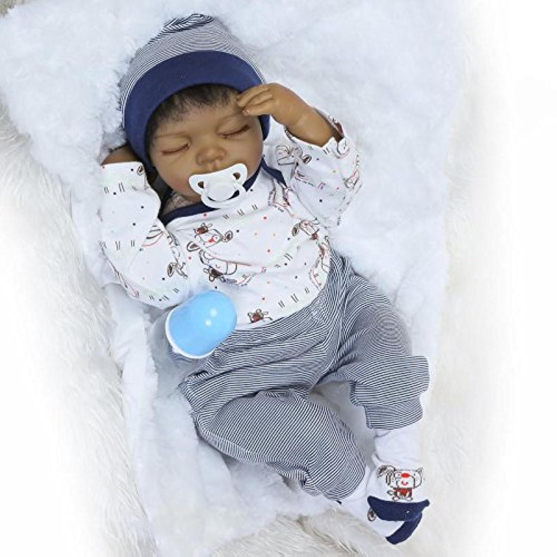 MaiDe Reborn Baby Doll 60cm Realistic Soft Silicone Vinyl Dolls Newborn Black Baby dolls With Clothes