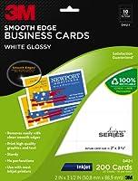 3M 光沢ビジネスカード 滑らかなエッジ インクジェット ホワイト 2 x 3 1/2インチ 1パック200枚入り (D412-I)