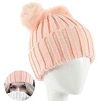 ニット帽 レディース ダブルポンポン かわいい おしゃれ 秋冬 防寒 保温 帽子 無地 小顔 フリーサイズ 全5色 (ピンク)