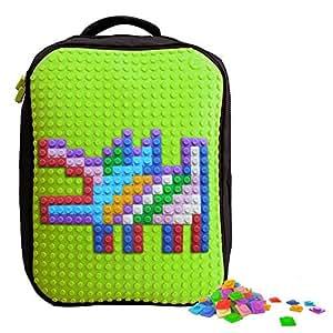Upixelクラシックバックパック–DIYピクセルアート–スクールノートパソコンバッグ–4色 L グリーン WY-A001-GREEN-FBA