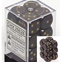Black with Gold pips Opaque Dice 16mm D6 Set of 12 by Chessex Dice