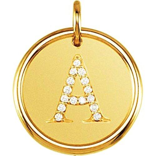 Posh Mommy初期Roxyペンダント14 Kイエローゴールドダイヤモンドと
