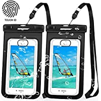 防水ケース [2枚セット] QoGoer IPX8防水認定 指紋認証対応 iPhone X/8/7/6/Plus 対応 アイフォン 防水ケース 水中撮影 お風呂 プール 海 温泉 水泳 砂浜 潜水など用携帯スマホケース iPhoneとAndroid 6インチ以下全機種対応 防水ポーチ ネックストラップ付属