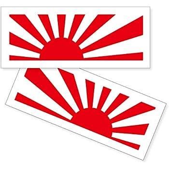 nc-smile Japan 旭日旗 日本 ジャパン ステッカー Asahi flag Rising Sun ライジングサン 太陽 (レッド, Sサイズ 30×87mm)