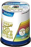 三菱化学メディア Verbatim DVD-R(CPRM) 1回録画用 120分 1-16倍速 100枚スピンドルケース 100P インクジェットプリンタ対応(ホワイト) ワイド印刷エリア対応 VHR12JP100V4