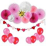 Easy Joy 母の日/誕生日/ウェディング飾り付けセット ペーパーファン アルミバルーン ハート型ガーランド 結婚式 パーティーデコレーション 写真背景
