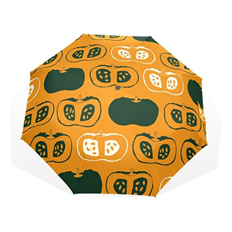 ユキオ(UKIO) 折りたたみ傘 レディース 晴雨兼用 高密度 遮光 手動 遮熱 飛び跳ね防止 梅雨対策 雨傘 日傘 軽量 防風 頑丈 カボチャ 収納ケース付