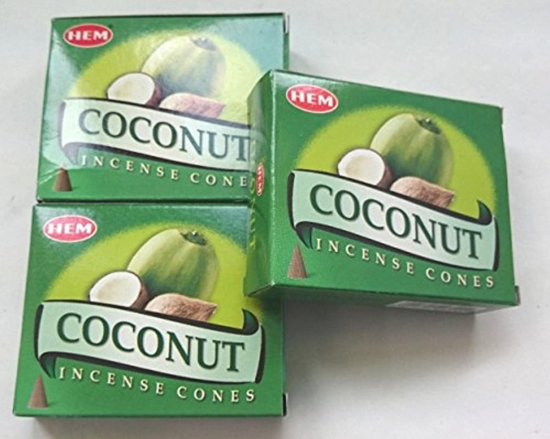 一般的に言えば研磨気怠いHEM(ヘム)お香 ココナッツ コーン 3個セット
