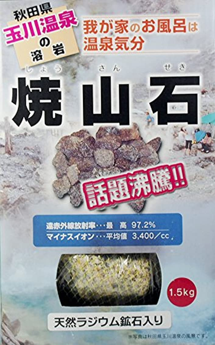 前方へ休日に整然とした【秋田玉川温泉湧出の核、焼山の溶岩】焼山石1.5kg(国産ラジウム鉱石混入)【お風呂でポカポカに】