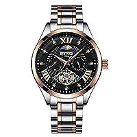 CXUNKK 新しいKINYUED悦達ゴールドダイヤモンド中空トゥールビヨン発光自動機械式時計の男性 (Color : 3, Size : 40mm)