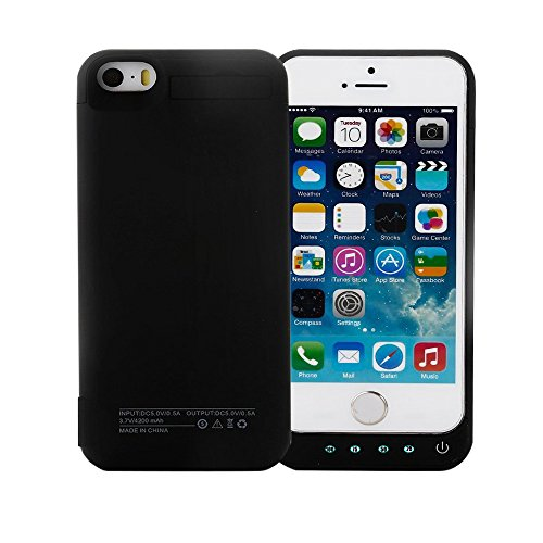 Idealforce iPhone5/5C/5S/SE 専用ケースバッテリー,大容量 4200mAhの外部バックアップ電源バンクパック電池、ポータブル電源充電器の保護充電ケース、iPhone5/5C/5S/SEケース型バッテリー(4インチ) (黒)