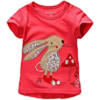 Mengmeng Summer Children T Shirt Baby Girl Cartoon Rabbit and Cat Tops Kid Toddler Short Sleeve T-Shirts