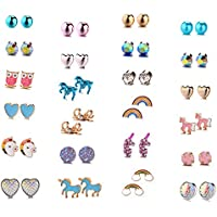 24 Pairs Cute Animals Hypoallergenic Stud earrings sets for kids Little Girls,Children's Colorful Unicorn rainbow Nickel-free Earrings