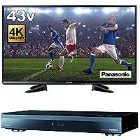 【 4K 放送 対応セット】パナソニック 43V型 液晶 テレビ VIERA 裏番組録画 HDR 対応 TH-43EX600 + ブルーレイレコーダー おうちクラウドDIGA DMR-SUZ2060