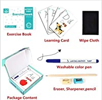 Elloapic Write & Wipe Practice Cards Exercise bookPencil eraser can repeate writing (Alphabet ABC Letter) [並行輸入品]