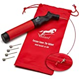 Sports Ball Pump Inflator with 5 Needles (Pin) and Pouch, Dual Action Hand Held Portable Air Ball Pump with pins to Inflate Athletic Soccer Ball, Football, Volleyball, Rugby-Ball, and Basketball