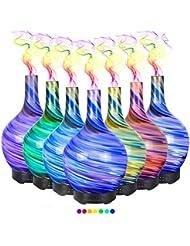 エッセンシャルオイル用ディフューザー (100ml)-3d アートガラストルネードアロマ加湿器7色の変更 LED ライト & 4 タイマー設定、水なしの自動シャットオフ