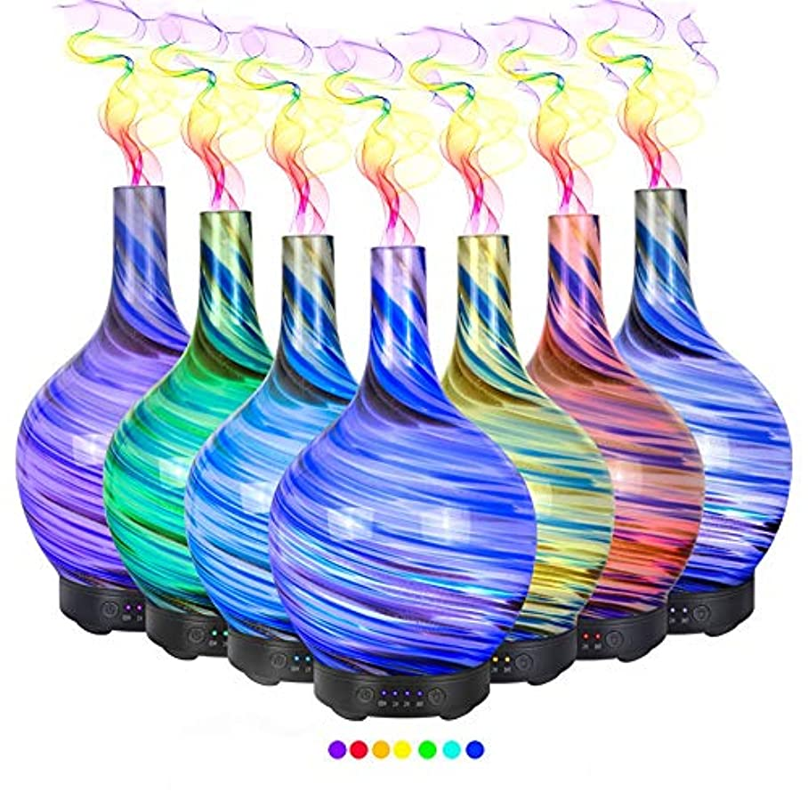 傑出した感謝雰囲気エッセンシャルオイル用ディフューザー (100ml)-3d アートガラストルネードアロマ加湿器7色の変更 LED ライト & 4 タイマー設定、水なしの自動シャットオフ