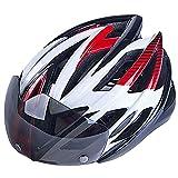 自転車サイクリングヘルメット 超軽量通気バイクヘルメットバイク用スポーツタイプ 大人やこども用 安全 軽量 高剛性 サイズ調整可能 テールランプLEDライトとフロントバイザー付き レッド&ホワイト