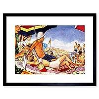 Painting Beach Scene Bondi Australia Sun Sand People Framed Wall Art Print ペインティングビーチシーンオーストラリア砂人壁